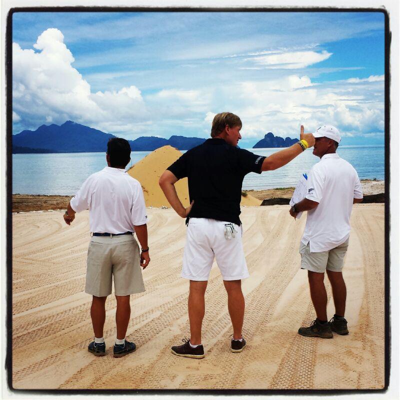 Ernie surveys 17th green overlooking stunning Andaman sea