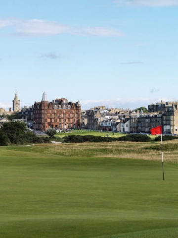 view of St Andrews Old Course from the 16th green