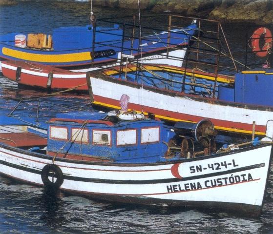 Fishing boats on the Algarve Coast Portugal
