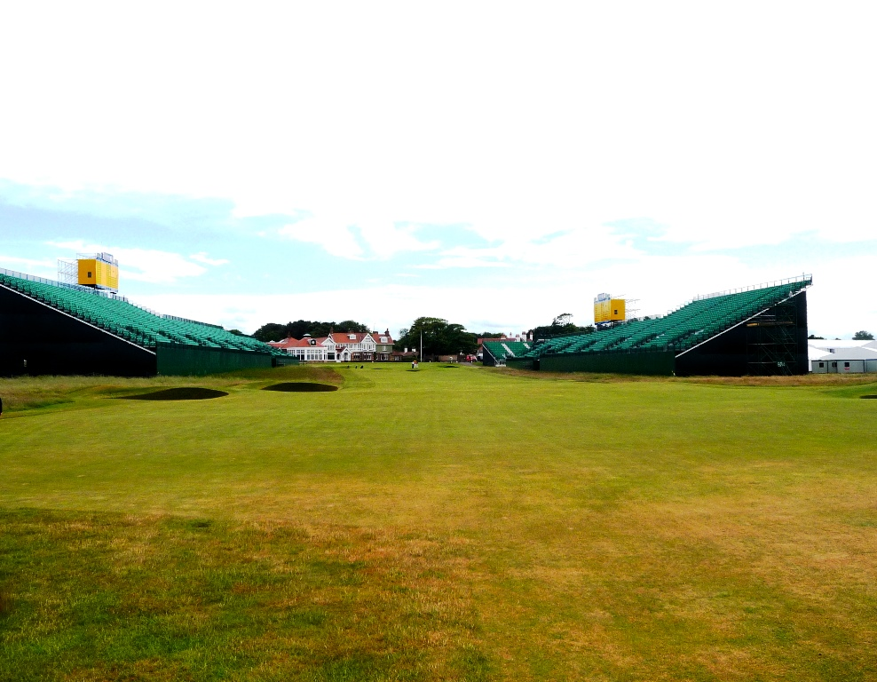 18th hole at Muirfield with Open grandstands